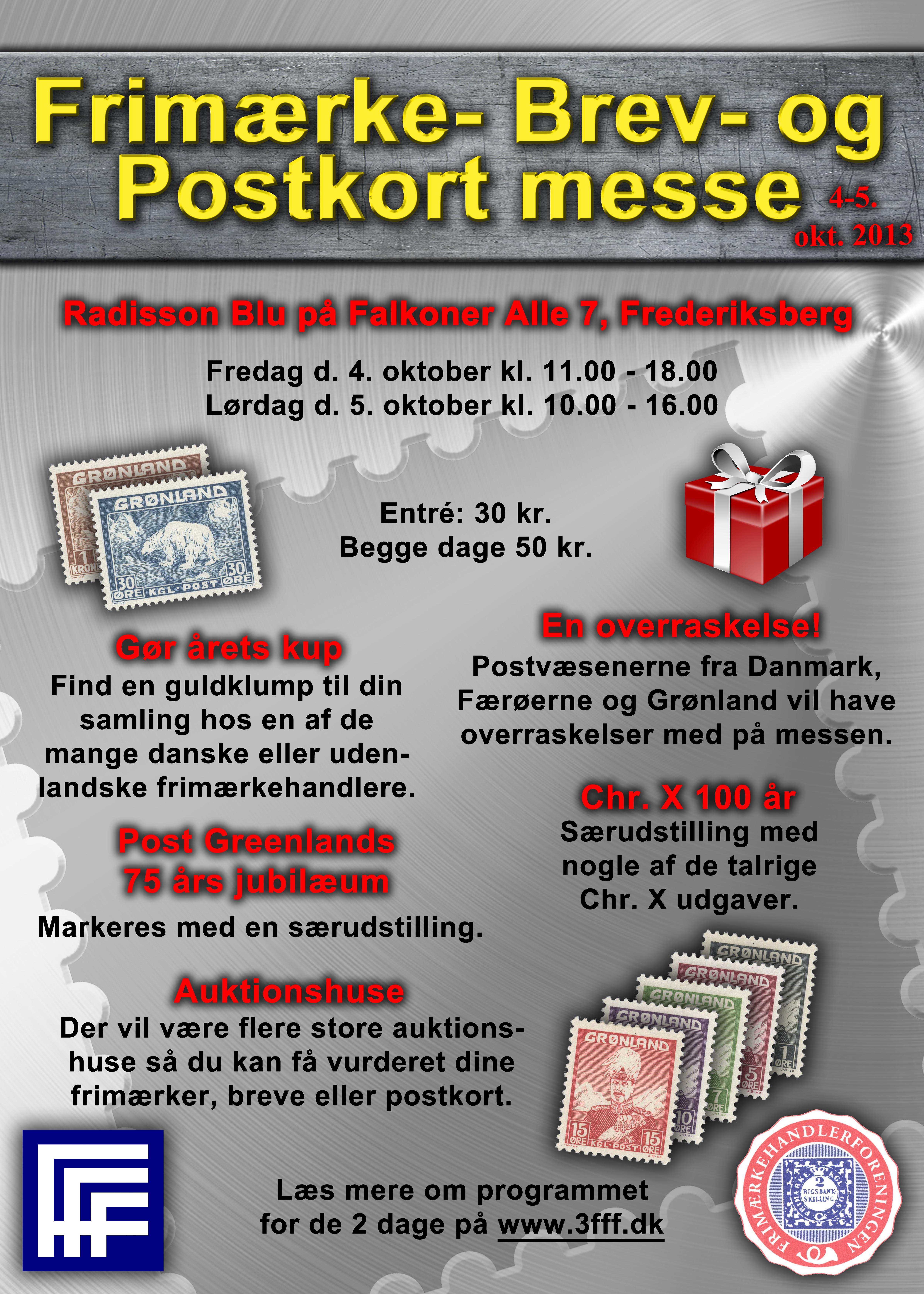 """Vi mødes på Frimærke, Brev & Postkort Messe 2013""""."""